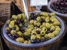 Lebensmittel auf dem wöchentlichen Landwirt-Markt in Lancaster England in der Mitte der Stadt lizenzfreie stockfotografie