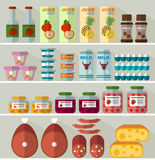Lebensmittel auf den Regalen des Speichers lizenzfreie abbildung