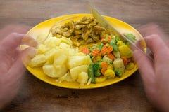 Lebensmittel auf einer gelben Platte stockbild