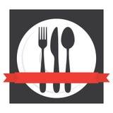 Lebensmittel-Café-Tischbesteck-Logo Stockbild