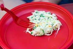 Lebensmittel in den Wegwerfplastikgeräten rot Das Lebensmittel ist vegetarisch lizenzfreie stockbilder
