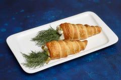 Lebensmittel in der Karottenform Scherzt Menü Stockfotografie