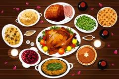 Lebensmittel des Danksagungs-Abendessens Lizenzfreie Stockbilder