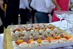 Lebensmittel für das Hochzeitscocktail Stockfotografie