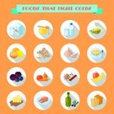 Lebensmittel für kalte Ikonen Stockbilder