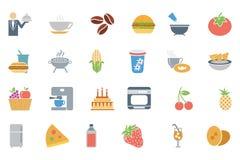 Lebensmittel farbige Vektor-Ikonen 3 Lizenzfreie Stockfotos
