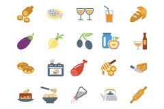 Lebensmittel farbige Vektor-Ikonen 9 Lizenzfreie Stockfotografie