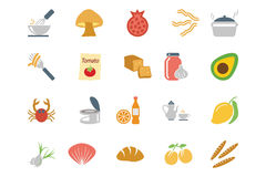 Lebensmittel farbige Vektor-Ikonen 10 Lizenzfreie Stockfotografie
