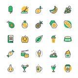 Lebensmittel, Getränke, Früchte, Gemüse-Vektor-Ikonen 4 Stockfotos
