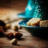 Lebensmittel-Hintergrund mit Anise Star Close oben Lizenzfreie Stockbilder
