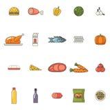 Lebensmittel-Ikonen eingestellte Fleisch-Fisch-Gemüse-Getränke für Stockfotografie