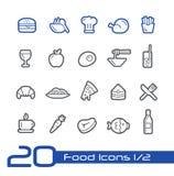 Lebensmittel-Ikonen - stellen Sie 1 2 //der Linie Reihe ein Stockfoto