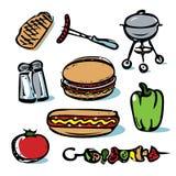 Lebensmittel-Ikonensammlung des Picknicks grillende im Freien lizenzfreie stockfotos