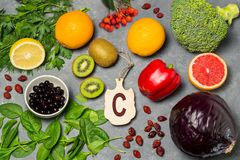 Lebensmittel ist Quelle des Vitamins C lizenzfreies stockbild