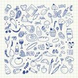 Lebensmittel kritzelt Sammlung Hand gezeichnete Vektorikonen Stilisiert natürliche Elemente Lizenzfreie Stockfotos