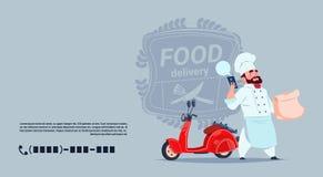Lebensmittel-Lieferungs-Emblem-Konzept-Chef-Koch-Standing At Red-Bewegungsfahrrad über Schablonen-Hintergrund-Fahne mit Kopien-Ra lizenzfreie abbildung