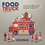 Lebensmittel-LKW-Festivalplakat mit Feinschmecker, Eiscremethema Lizenzfreies Stockfoto