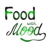 Lebensmittel mit Stimmung Buntes Vektorhandbeschriftungszitat lizenzfreie abbildung