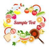 Lebensmittel-Rahmen-Zusammensetzungs-Text-Schablone, Vektor-Illustration Lizenzfreie Stockfotos