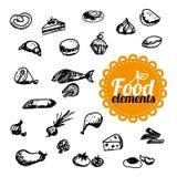 Lebensmittel skizziert Sammlung stock abbildung