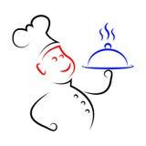 Lebensmittel-tragendes Durchschnitt-Chef-Weiß und Küche Lizenzfreie Stockfotografie