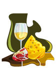 Lebensmittel und Frucht - Farbillustrationsvektor Stockfotografie