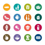 Lebensmittel-und Getränk-Farbikonen Stockfoto
