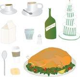 Lebensmittel-und Getränk-Ikonen Stockfotos