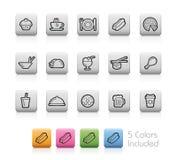 Lebensmittel-und Getränk-Ikonen - 2 -- Entwurfs-Knöpfe Stockfotos