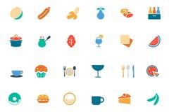 Lebensmittel-und Getränk-Vektor farbige Ikonen 13 Stockbild