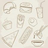 Lebensmittel-und Getränk-Vektor-Hand gezeichnete Ikonen Lizenzfreies Stockfoto