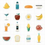 Lebensmittel- und Getränkikonen mit weißem Hintergrund Lizenzfreies Stockbild