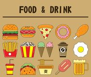 Lebensmittel- und Getränkikonensatz lizenzfreies stockbild