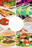 Lebensmittel- und Getränksammlungscollagenmenügetränke trinkt Mahlzeit mea lizenzfreies stockfoto