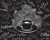 Lebensmittel und Getränk vector nahtloses Muster mit Kaffeetasse und fasst den Kaffee ab, der durch Kreide auf Graupappe handgesc Stockfotografie