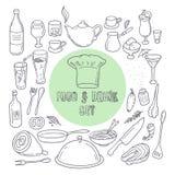 Lebensmittel- und Getränkentwurfsgekritzelikonen Satz Hand gezeichnete Küchenelemente Lizenzfreie Stockfotografie