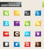 Lebensmittel-und Küchen-Bookmark-Ikonen Lizenzfreie Stockfotos