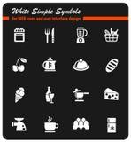 Lebensmittel- und Kücheneinfach Ikonen Stockfotografie