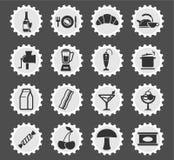Lebensmittel- und Kücheneinfach Ikonen Stockfoto