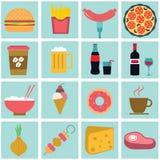 Lebensmittel und Kochen des Rezeptikonensatzes Lizenzfreie Stockfotos