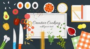 Lebensmittel und kochen Fahne Stockbild