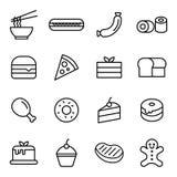 Lebensmittel-und Nachtisch-Ikone Stockbilder