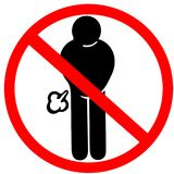 Lebensmittel verursacht möglicherweise nicht Gas farting verboten, Verkehrsschild zu warnen der rote Kreis, der auf Weiß lokalisi stock abbildung