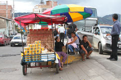 Lebensmittel-Warenkorb an der Bushaltestelle in Peru Lizenzfreie Stockfotos