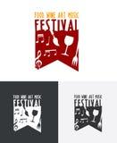 Lebensmittel-Wein Art Music Festival Logo Lizenzfreie Stockfotografie