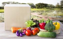 Lebensmittel-Zustelldienst: Gemüseon-line-Bestellung f der lieferung zu Hause Stockfoto
