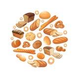 Lebensmittelbrotroggen-Weizenvollkornbagel schnitt französische Stangenbrothörnchen-Vektorikonen im Kreis Stockfotografie