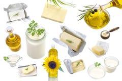 Lebensmittelfette und -öl: Satz Milchprodukt und Öl- und tierische Fette auf einem weißen Hintergrund Stockfotografie