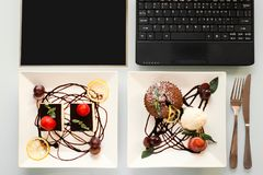 Lebensmittelfotolieferungsgeschäfts-Blogkonzept Lizenzfreies Stockbild
