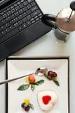 Lebensmittelfotolieferungsgeschäfts-Blogkonzept Stockbild